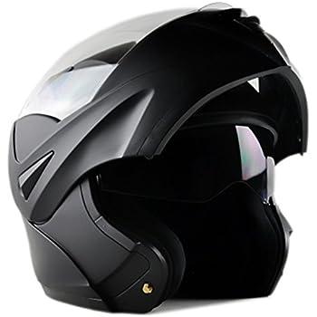 [Upgrades] ILM 10 Colors Motorcycle Dual Visor Flip up Modular Full Face Helmet DOT (L, Matte Black)