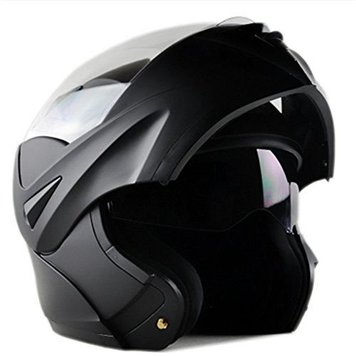 ILM 10 Colors Motorcycle Dual Visor Flip up Modular Full Face Helmet DOT (L, Matte Black) ()