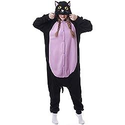 Yimidear® Unisex Cálido Pijama Animales Traje de Animal Cosplay Ropa de dormir Onesie Halloween y Navidad (L, Púrpura gato)