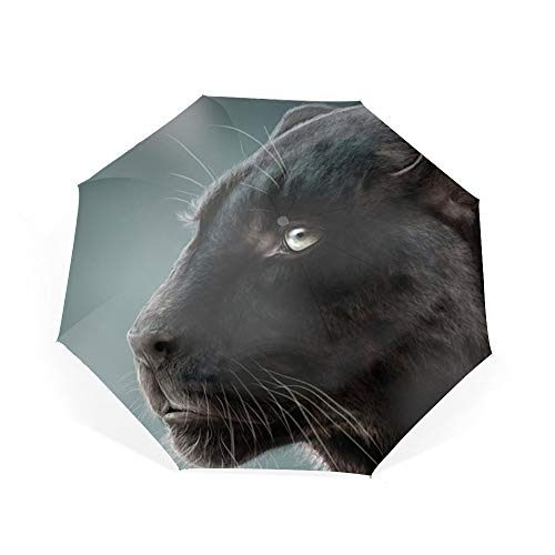 Black Close Panther Up (Photos Panthers Big Cats Whiskers Umbrella Automatic Open Close Folding Portable Golf Umbrellas with UV Coating)