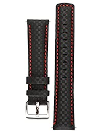 Signature Carbon watch band. Replacement watch strap. Genuine leather. Silver Buckle (24 mm, Black with Red)