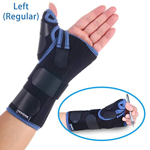 (Velpeau Wrist Brace with Thumb Spica Splint Support for De Quervain's, Scaphoid Fracture, Sprain or Muscle Strain, Carpal Tunnel Relief, Injury Recovery for Men & Women (Regular, Left Hand - Medium) )