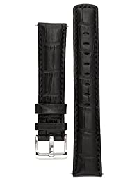 Signature Freedom watch band. Replacement watch strap. Genuine leather. Silver Buckle (22 mm - extra-long, Black)