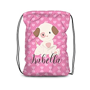 Puppy Dog Drawstring Backpack - Pink Puppy Personalized Name Bag
