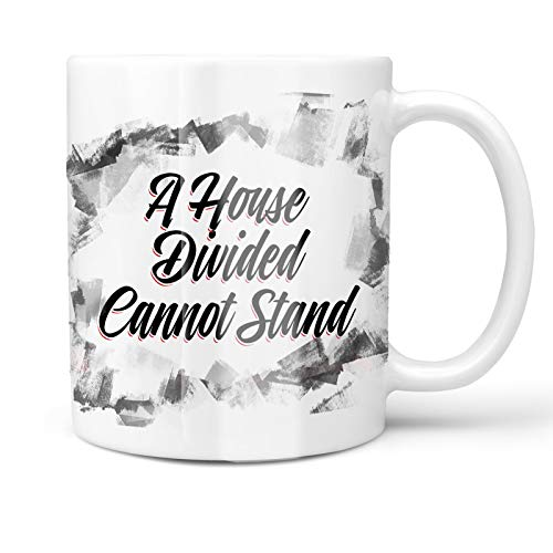 - Neonblond 11oz Coffee Mug Vintage Lettering A House Divided Cannot Stand with your Custom Name