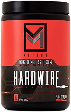 Hardwire – Premium Energy Focus – Infinergy Caffeine, Teacrine, Huperzine, Choline, BCAA, Green Tea, Taurine, Superfruit Antioxidants, Electrolytes – 30 Servings Paradise Punch