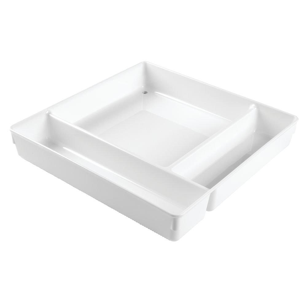 "InterDesign Linus Cutlery Tray Organizer for Flatware and Kitchen Gadgets - 10.75"" x 13.75"" x 2"", White 53931"