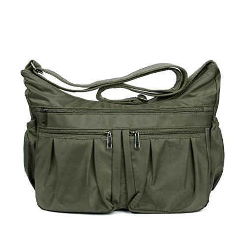 Nylon Crossbody Bags for Women Multi Pocket Shoulder Bag Waterproof Travel Purses and Handbags with Card Slots (Army Green-Updated-Large)