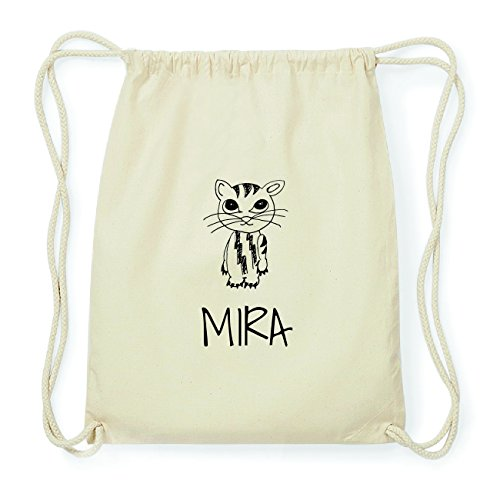 JOllipets MIRA Hipster Turnbeutel Tasche Rucksack aus Baumwolle Design: Katze WJINMrh