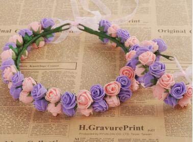 ORCHILD Flora flower headband 1pcs/lot Rose Flower Wreath Hair Accessories Bohemian Rose Flower Headband Kids Wreath Wedding Flora Ribbon Adjustable