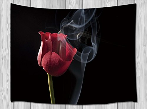 Love Decor Tapestry By Jawo Romantic Theme Vibrant Red Rose With Thin Smoke Floating Against Black Background Wall Hanging Blanket for Bedroom Living Room Dorm 71 X 60 Inches