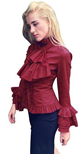 Nuoqi Women Stand-Up Collar Lotus Ruffle Shirt Wine Red Retro Victorian Lolita Blouse