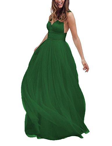 Backless Neck V Dress Tulle Wedding Prom Dress Straps DYS Green Evening Long Women's WwPqYAxO