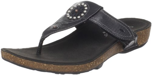Aetrex Women's Emily Thong Sandal, Black, 10 M - Aetrex Black Shoes