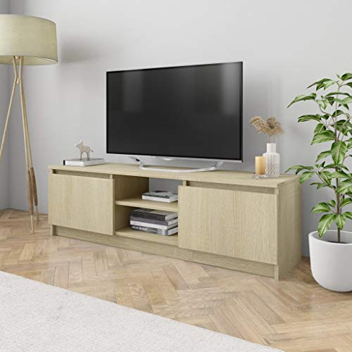 (vidaXL Modern Low Profile Entertainment TV Stand with 2 Drawers and 2 Open compartments for Home Living Room Furniture,Sonoma Oak 47.2x11.8x13.9 inch Chipboard)
