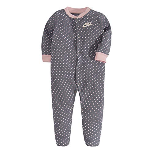 NIKE Children's Apparel Baby Graphic Footed Coverall, Ashen Slate Dot, 3M ()