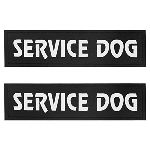 (Dog Vest Patches, Service Dog/in Training/Emotional Support/DO NOT PET PU Patches Velcro - 2 Free Removable Dog Tags for Dog Harness, Collar & Leash )