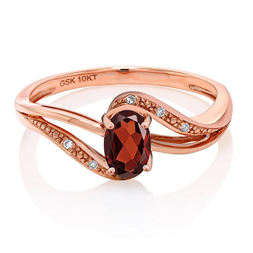 10K Rose Gold Red Garnet and Diamond Engagement Bypass Ring (0.54 Ctw, Available in size 5, 6, 7, 8, 9)