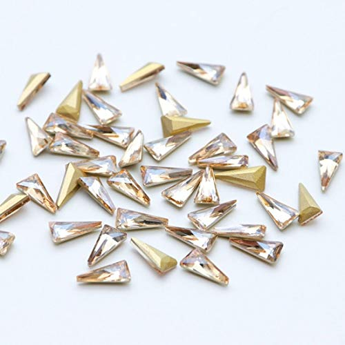 Nail Art Accessories - 10pcs 3D Triangle Nail Decorations Sets Glitter Shiny Nail Stone DIY Manicure Crystal Nail Rhinestone Accessory Rhinestones Nails Art Accessories - Gold -