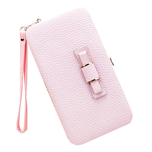 Cellphone Women Wallet Case Long Litchi Purse Clutch Bow Purple Prints Wristlet for 6 Phone for Wallet Handbag Light Card Leather inch wqqBfZvXx
