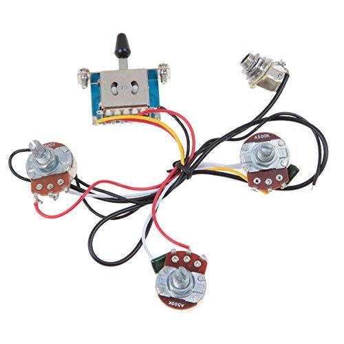 Kmise MI0315 Strat Guitar Wiring Harness 5 Way Blade Switch 500K Full Size Pots - Lefty - Strat 5 Way Switch Wiring