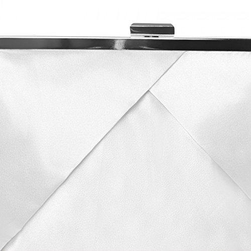 para con de Blanco CASPAR Fiesta Mano Satén Bolso Colores Diseño Clutch Mujer TA320 de Elegante Varios wqqxX8Fv