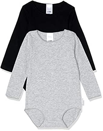 Bonds Baby Wonderbodies Long Sleeve Bodysuit (2 Pack), Black & Grey, 0000 (Newborn)