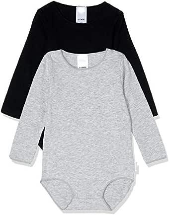 Bonds Baby Wonderbodies Long Sleeve Bodysuit (2 Pack), Black & Grey, 0000 (Newborn)