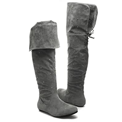 Glamorous Womens BOO09 Closed Round Toe Silver Studded Bi Fold Lace Up Over The Knee Thigh High Flat Boot Shoes, Gray faux Suede, 10 B (M) US
