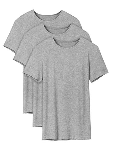 Love Crew Relaxed T-shirt (David Archy Men's 3 Pack Soft Comfy Bamboo Rayon Undershirts Breathable Crew Neck Slim Fit Tees Short Sleeve T-Shirts (S, Heather Gray))