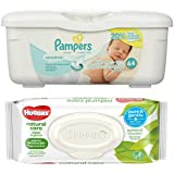 Pampers Sensitive Wipes Tub (64 ct) Bundle with Huggies Natural Care Flip Top Wipes (32 ct)