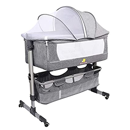Folding Baby Bedside Sleeper Hicrifth Portable Travel Baby Crib with Breathable Mesh Window and 4 Adjustable Height for Infant//Newborn Dark Gray