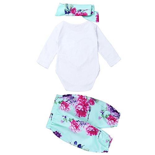 Filles Bébé Nourrisson Tiaobug Floral Manches Longues Imprimé Barboteuse Avec Un Pantalon Tenue Serre-tête
