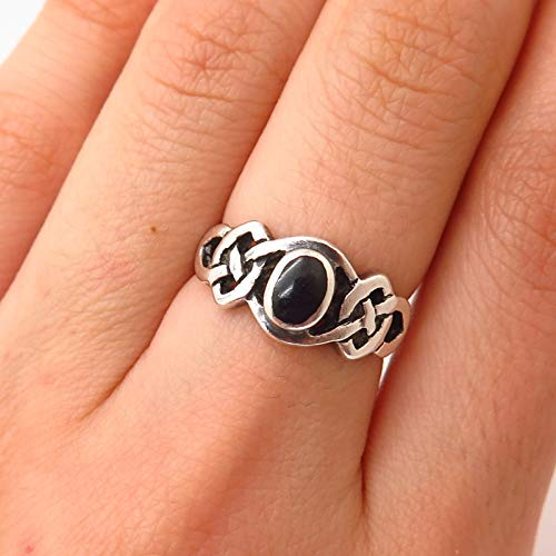 925 Sterling Silver Peter Stone Black Onyx Gem Celtic/Viking Knot Ring Size 6 Jewelry by Wholesale Charms