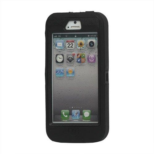 Apple iPhone 5 5S Outdoor Case Schutzhülle Tasche Defender Hybrid Silikon Schwarz