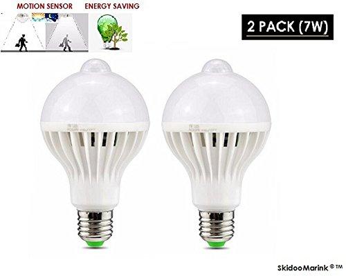 LED Motion Sensor Light Bulb - Dusk to Dawn PIR Built-In Motion Detector Light Sensing Outdoor Bulb E27 Indoor Outdoor LED Sensor Light Warm White Security Detection Lights 2 Pack 7W SkidooMarink by SkidooMarink