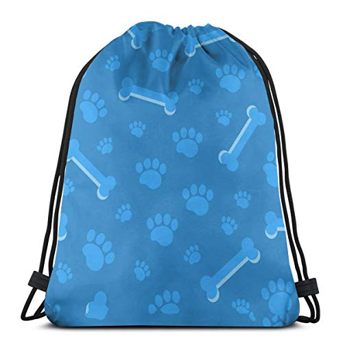 Mefond Drawstring Backpack Bag,Cinch Sack,Gym Sack,for Girls Or Men Shopping,Sport,Gym,Yoga,School,Blue Dog Footprint Bone
