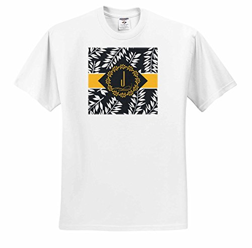 Doreen Erhardt Monogrammed Collection - Tropical Print in Charcoal White and Yellow with Letter J Monogram - T-Shirts - Adult T-Shirt 2XL (ts_244664_5) -  3dRose