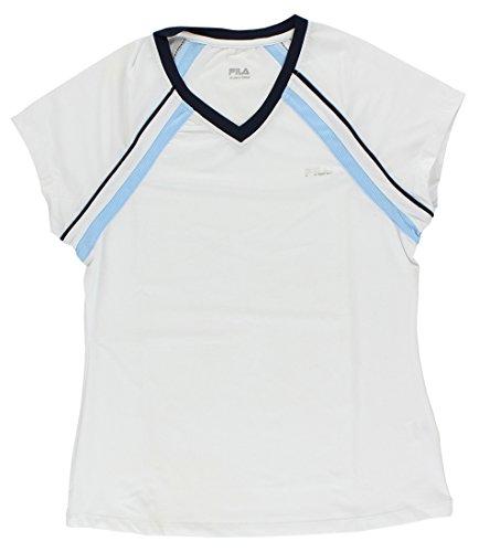 - Fila Cap Sleeve V-Neck T-Shirt, White/Blue Bell/Peacoat, Medium
