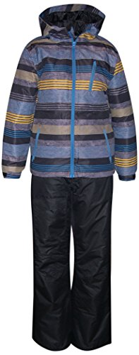 Pulse Big Boys Youth 2 Piece Snowsuit Ski Jacket and Snow Pants Dash (Small (8/10), Gold/Marine/Black)