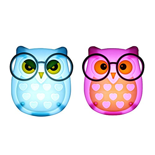 1 Pair LED Plug-in Night Light for Kids – Light Sensor Controlled Nightlights for Baby Nursing - Owl shaped Wall Lamp Take Good Care Children Sleep (Pink + Blue) (Owl Lantern)