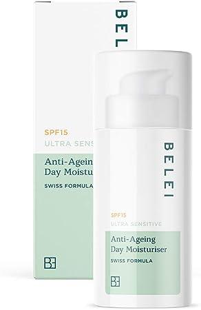 Marca Amazon - Belei Crema hidratante antiedad de día para pieles ultrasensibles con FPS 15, 50ml