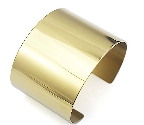 COUYA Stainless Steel Smooth Polished Open Cuff Bangle Bracelet for Women Lady Girls Gift (Flat Gold - Bracelet Ladies Gold