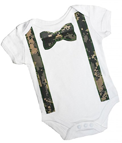 Birdy Boutique Baby Boys Bow Tie and Suspender Onesie 0-3 Months Camouflage