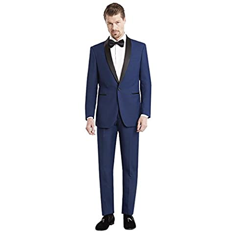 Mens Slim Fit Solid One Button Tuxedo with Shawl Lapel Blue Navy,US 44L / EU 54L / Waist 38 - Uomo Mens Fashion