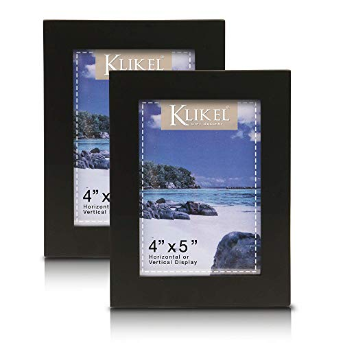Klikel Black Picture Frame | Set of 2 4 X 5 Black Wooden Photo Frame | Made of Real Wood with Glass Photo Protection | Wall Hanging and Table Standing Display