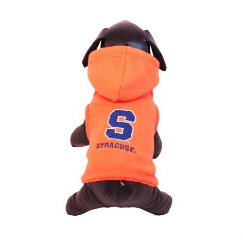 Syracuse Orangemen Fleece - NCAA Syracuse Orange Polar Fleece Hooded Dog Jacket, XX-Small