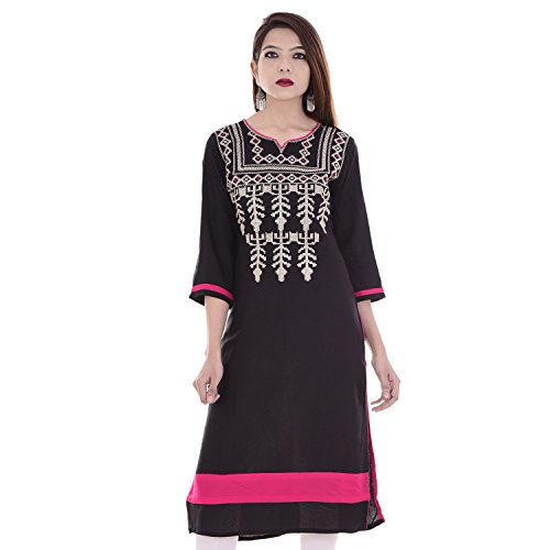 Chichi Indian Women Kurta Kurti 3/4 Sleeve XX-Large Size Plain with Embroidered Neck Straight Black Top by CHI