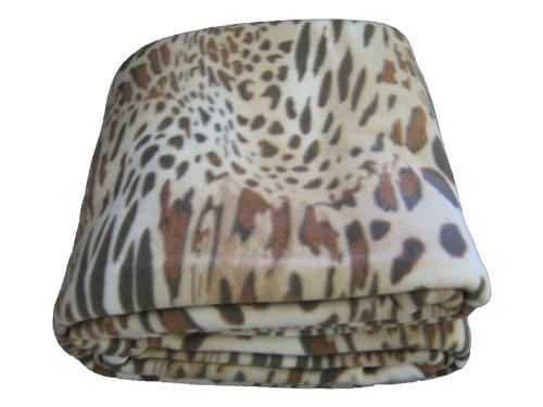 DaDa Bedding BL70742 Leopard/Cheetah Polar Fleece Blanket, Full, Brown