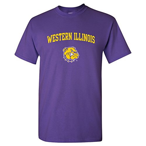 UGP Campus Apparel AS03 - Western Illinois University Leathernecks Arch Logo T-Shirt - Small - Purple